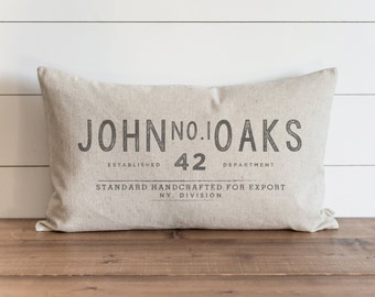 Vintage Collection_Custom Name_John No.1 Oaks 16 x 26 Pillow Cover // Everyday //  Throw Pillow // Gift for Them // Accent Pillow