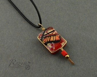 Red and Gold Dichroic Fused Glass Necklace