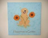 Golden Retriever Art Canvas Original /  Hand Painted / Wall Hanging