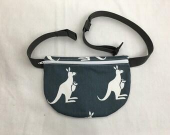 Flat Zipper Kangaroo Fanny Pack, Waist Bag, Hip Pouch, Festival Bag - Choose Color
