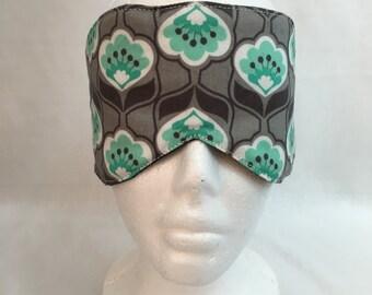 Charcoal and Aqua Floral Sleep Mask and Case Set, Eye Mask, Travel Mask