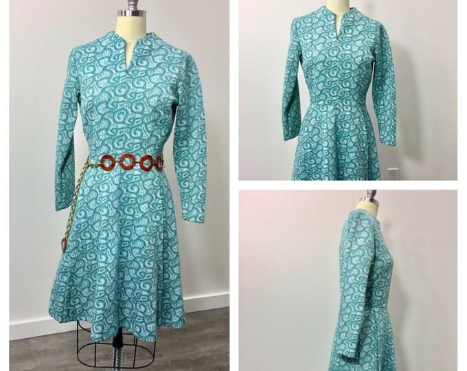 Vintage 1960s Sears Knit Dress Mod Retro 1960s 1970s Abstract Print Dress