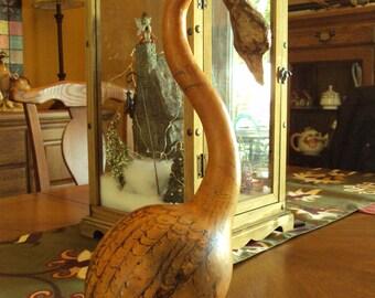 Whimsical Folk Art Hand-Carved Gourd