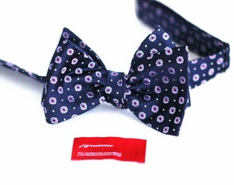 Silk SELF TIED Bow Tie in Floral Tickled Pink Capri Blue Navy and White Dots