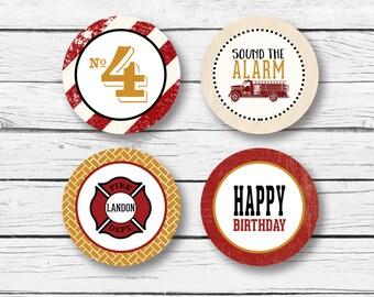 Firetruck Party Circles - Firetruck Cupcake Toppers - Vintage Firetruck Toppers - Firetruck favor tags