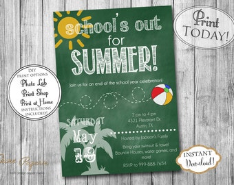 INSTANT DOWNLOAD - End of School Party Invitation - Printable Pool Party - Summer Birthday Party Invitation - Schools Out - School's Out
