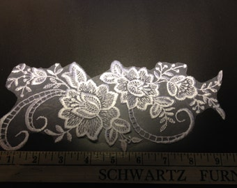 White Floral Satin-Stitch Applique for bridal, craft and decor