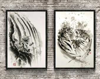 Dragon & Tigers Set of 2 Painting, Japanese Calligraphy Poster, Abstract Art Print, Japanese Style Drawing, Sumi-e Room Decor