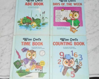 4 Vintage Wise Owl's HC Books ~ Counting, ABC, Time & Days of the Week ~Children's Press 1981-2