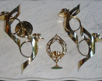 Vintage Brass Mid Century Mod Hanging Candle Holder Wall Sconce Set by MASCOT