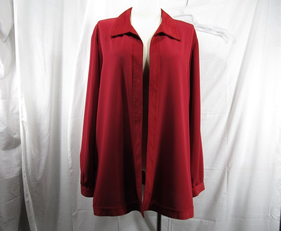 Draper & Damon's Womens Plus Size 20 Red Duster Blouse - Cover up, Polyester with Faux Leather Collar Vintage Plus Size Woman Top