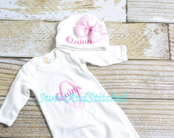 Monogrammed newborn gown or bodysuit, baby girl take home hospital outfit personalized in pink, newborn hat pink, monogram baby girl outfit