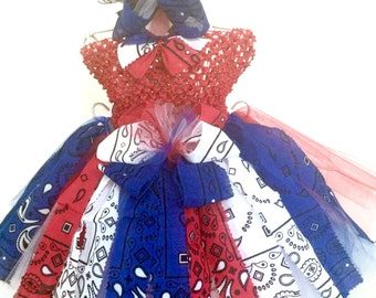 RWB Bandana Fabric Tutu-Ready2Ship Perfect for: Pageant, Outfit of Choice, Memorial Day, Veterans Day or July 4th, photo shoot