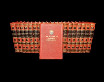 Vintage 1955 Complete Encyclopedia Set, 20 Volumes, The Illustrated Home Library Encyclopedia, Red Hardcover Books