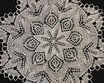 Round Knitted Linen Lace Doily Centerpiece Handmade