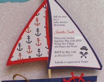 Nautica baby shower invitation, Sailor invitation, Ahoy it's a boy invitation. Set of 25 invitations