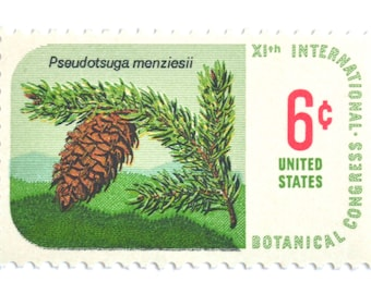 10 Unused Pinecone Stamps // RARE Vintage 1969 Green Pine Tree Postage Stamps // For Mailing