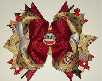 Sock monkey hair bow