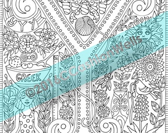 adult coloring book page alphabet wall letter y by cashion relaxation stress yoga yarn yogurt yucca - Coloring Book Yarns
