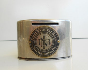 Vintage Metal Advertising Bank First National Bank Wilmerding PA