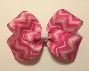 Multi Colored Pink Chevron Hairbow