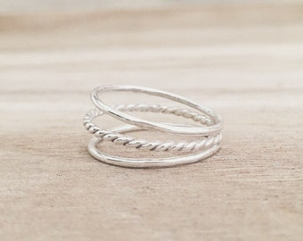 Ollie ring, triple band ring, sterling silver ring, rings, minimalist jewelry, twisted ring, smooth ring, three band ring