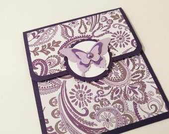 Purple Paisley Butterfly Gift Card Holder WITH Envelope, Butterfly Money Holder, Butterfly Card, Paisley Money Holder