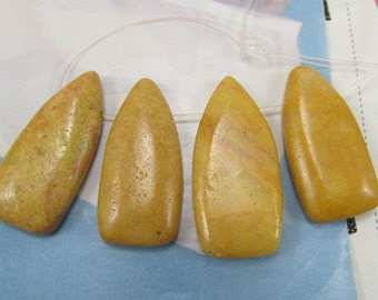 Jasper Teardrop Pendant, Yellow Jasper Shield Pendants, Earth Tone Gemstone Pendants, Shield Pendant Pairs, Gold Stone Points, 4 Pcs