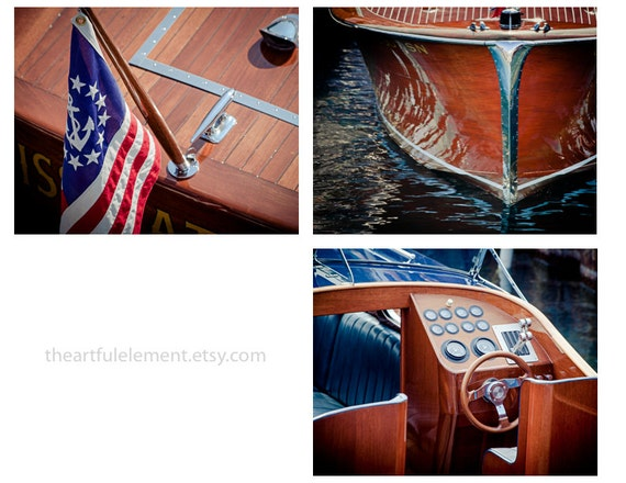 Nautical art, Coastal decor, Chris craft wall art, Wood Boat Photography, Set of 3 prints, Large boat art / Classic wood boat picture series