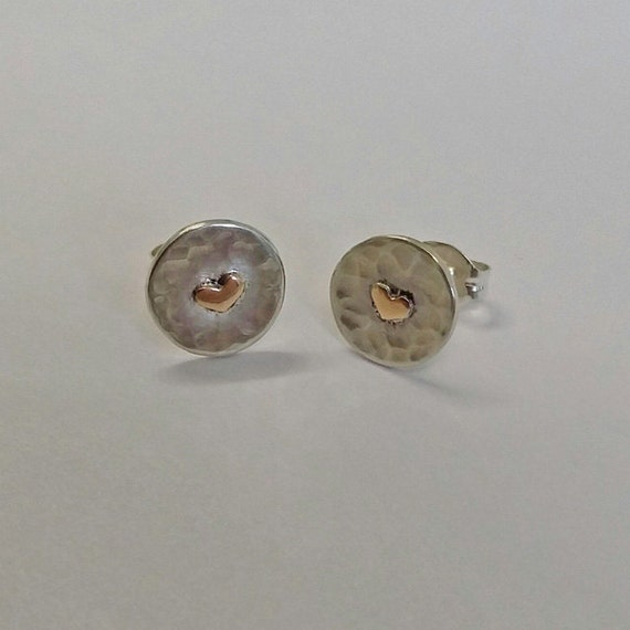 tiny handmade sterling silver stud earrings with 9ct yellow