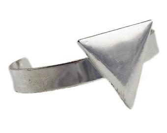 Silver Triangle Cuff Bracelet, Silver Cuff Bracelet, Wide Silver Cuff Bracelet