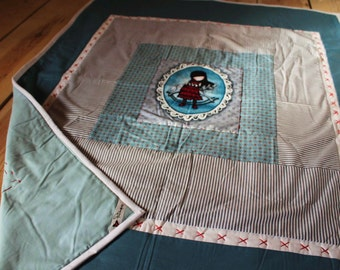 Crib size patchwork quilt. Doll.