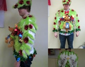 3-D Explosion of Grinch  Max the Dog Tacky Ugly Christmas Sweater Garland Wild Wacky Mens L Light UP & Lime fur hat