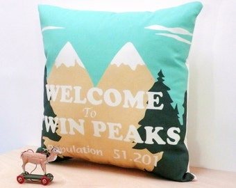 Twin Peaks Pillow Cover. Decorative pillow. Organic Cotton  pillow. Insert not included
