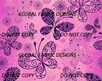 Purple Butterflies on pink cotton lycra jersey knit fabric - UK seller