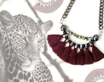 Tribal fringe necklace, wine red tassel necklace, fan necklace, dark red tassels, leopard jasper necklace, african statement necklace.