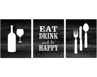 Black Kitchen Wall Art, INSTANT DOWNLOAD, Fork Spoon Knife Art, Wine Art Print, Dining Room Art, Eat Drink and Be Happy Quote - HOME156