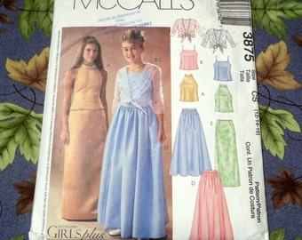 McCall's Girl's and Girl's Plus Lined Tops, Cover-Up and Skirts.  Pattern No. 3875.  Sizes 12-14-16, and 12.5-14.5-16.5