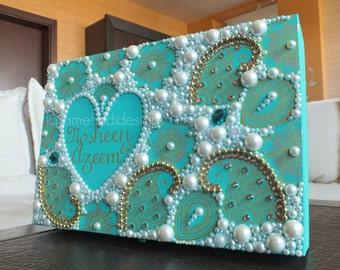 Teal & Gold Wedding Memory/Keepsake Box. Ivory Pearl, Gem, Beads. Bride Groom. Gift, Stationary Black