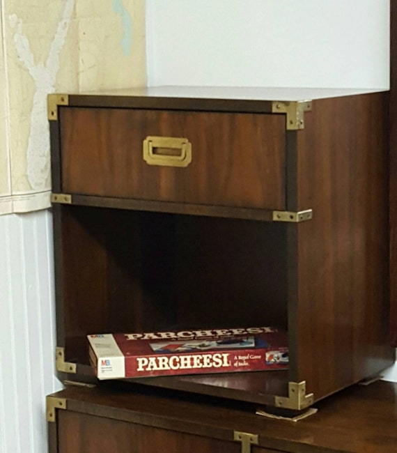 Vintage Lane Campaign Military Nightstands Pair Two Mid