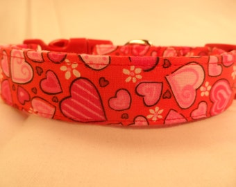 Dog Collar Patterned Hearts and Flowers