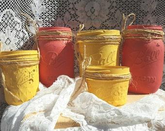 Painted Ball Mason Jars, Chalky Painted Ball Mason Jars, Rustic Bathroom Set, Colored Jars, Jars,Rustic Desk Organization, Organization Jars