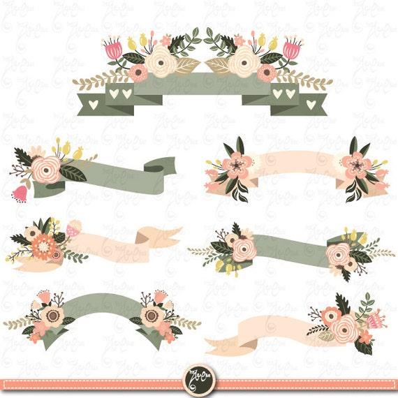 Floral Banners clipart FLORAL BANNER clip art.
