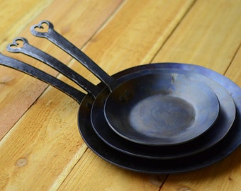 Hand Forged Iron Skillet Carbon Steel Pan By