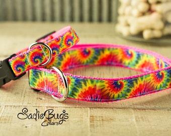 Tye Dye dog collar, tie-dye dog collar, modern dog collar, colorful dog collar