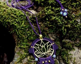 Lotus Flower Macrame Pendant, Opalite Macrame Pendant, Purple Macrame pendant, Lotus yoga necklace, Macrame lotus talisman, sacred geometry