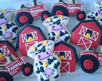 Farm Cow Birthday Cookies