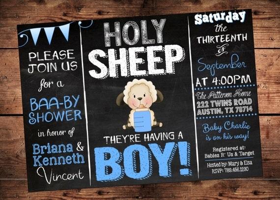 holy sheep boy baby shower invitation lamb theme baby, Baby shower invitations