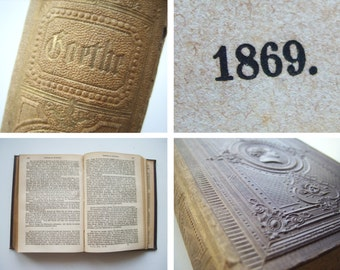 Antique book 1869 Goethe -  gothic German old books decoration shabby chic