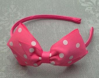 Big Bow Headband, Pink Headband, Large Headband, Pink Hair Bow, Girl Headband, Baby Headband, Adult Headband, Photo Prop
